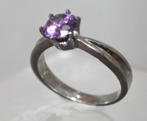 Stainless Steel 8mm Amethyst Round Cut Engagement Ring (7)