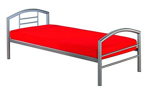 Metal-marco de la cama de tamaño de 90 x 200 cm de colour plata Indra
