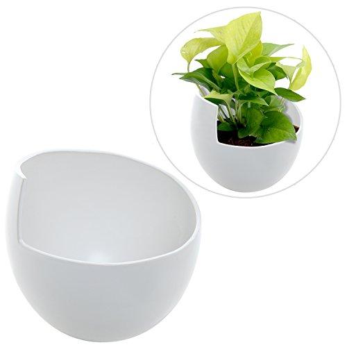 Decorative white ceramic modern round plant flower planter