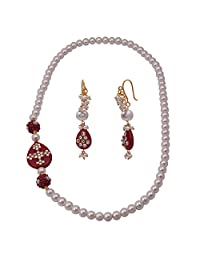 Jewelina Gems Kundan Work Red Color Quartz And Pearl Endless Necklace Set For Girls And Women