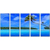 Canvas art prints, seascape beach print on canvas, framed and ready to hang, modern home and office interior decor, seascape canvas designs, 5 panel print, wall art