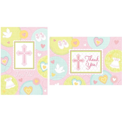 Sweet Blessing Pink Invitations & Thank-You Postcards