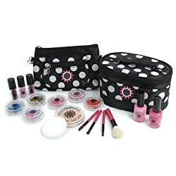 Mini Play Pretend Makeup- Super Deluxe Pretend Cosmetics Kit - Classic Black