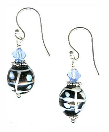 Sterling Silver Antique Venetian Trade Bead Earrings - Black and White