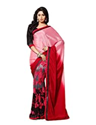 AG Lifestyle Pink Faux Georgette & Satin Pallu Saree With Unstitched Blouse ELG8005