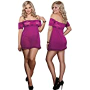Plus Size Sexy Purple Lace Babydoll Set
