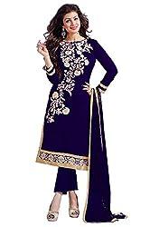 Cenizas Blue Colour Mix Cotton Embroidered Unstitched Salwar Suit