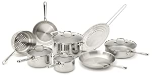 Emeril by All-Clad E914SC64 PRO-CLAD Tri-Ply Stainless Steel Dishwasher Safe PFOA Free Cookware Set, 12-Piece, Sliver