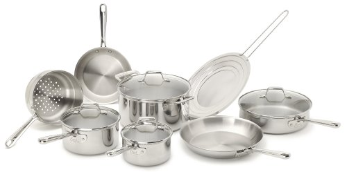 Emeril by All-Clad E914SC PRO-CLAD Tri-Ply Stainless Steel Dishwasher Safe PFOA Free Cookware Set, 12-Piece, Sliver