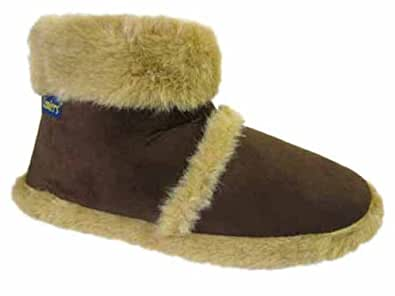 New Mens Famour Fur Furry Cooler Ankle Boots Slippers Size 7 8 9 10 11 12 Small Medium Large, Brown, Small 7/8