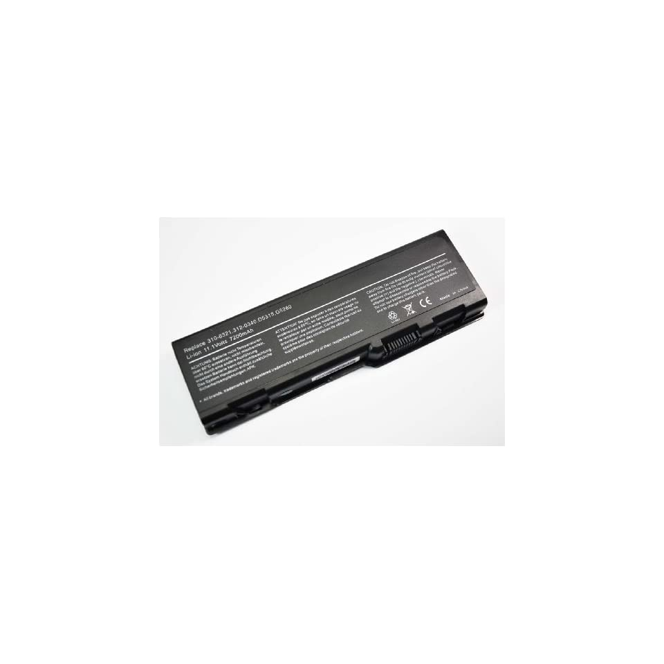 Eznsmart High Capacity (7200mAh New Trent New Replacement Battery for Dell Inspiron 6000, 9200, 9300, 9400, XPS M170, XPS M1710, XPS Gen 2, E1705, Precision M90, Dell 310 6321, 310 6322, 312 0339, 312 0340, 312 0348 [Li ion 9 cell 7200mAh Black]