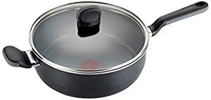 T-fal A68833 Soft Sides Nonstick Thermo-Spot Dishwasher Safe Oven Safe Saute Pan Cookware, 4.2-Quart, Black