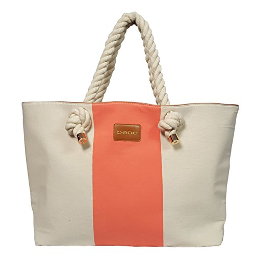 Bebe Medium Beach Canvas Tote Zipper Natural Peach BEBE Logo One Size