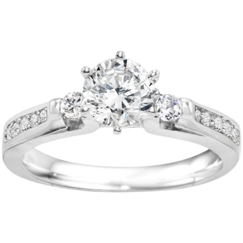 Promise Ring Set With Cubic Zirconia Mounted In Sterling Silver (0.77 Ct. Twt.)