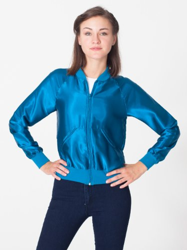 American Apparel Women's Unisex Satin Charmeuse Night Jacket Large-Peacock