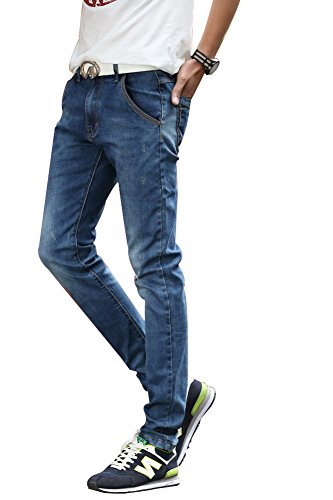 Menschwear Men's Denim Jeans Stretch Stone Washed Slim Tapered 176 (32)