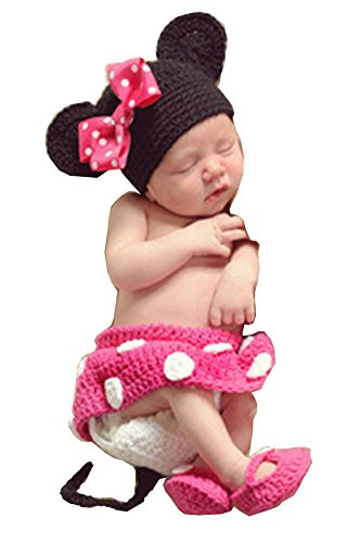 Cx-queen Baby Photo Prop Crochet Minnie Mouse Costume Shoes & Hat (Rose)