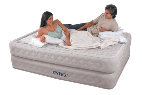 Intex Supreme Air-Flow Queen Airbed Nylon Flocked With Built-In Electric Pump