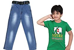 Krystle Combo of Boys 1 Green T-Shirt & 1-Jeans for Kids (12-13yrs)