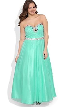 Deb junior plus size strapless long prom dress with stone keyhole