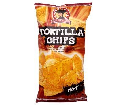 Feurig scharfe Tortilla Chips Hot mit Chili-Geschmack in der 450g Packung Don Fernando