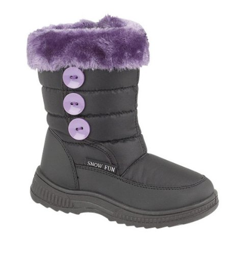 Girls Fleece Lined Snow Boots Size UK 10 Eu 28 Black & Lilac