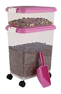 IRIS Airtight Pet Cat Dog Bird Seed Food Container Combo Kit Scoop (One Size, Pink/White) from United States