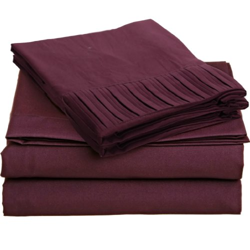 Clara Clark Regal 1600 Series Pleated Design 4 Pc Bed Sheet Set - King Size, Purple Eggplant front-351588