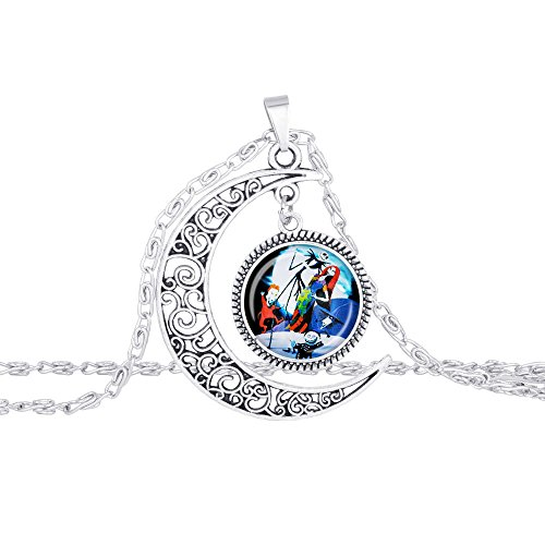 Jack Nightmare Before Christmas Necklace by U&MeJewelry(R) Jack and Sally, Jack Skellington Charm Crescent Moon Pendant Great for His and Hers Love Gift M4006 - Original Sold ONLY by Casiii