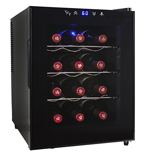 AKDY® 12 Bottle Single Zone Thermoelectric Stainless Steel Freestanding Wine Cooler Cellar Chiller Refrigerator Fridge Quiet Operation (Fancy Wine Cabinet compare prices)