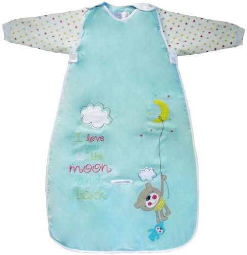 The Dream Bag Baby Sleeping Bag Long Sleeved Travel Moon And Back 0-6 Months 3.5 Tog - Aqua