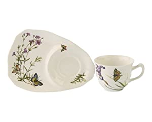 Gracie China Butterfly 2-Piece Porcelain Snack Set, 8-Inch Tray and 4-Ounce Cup