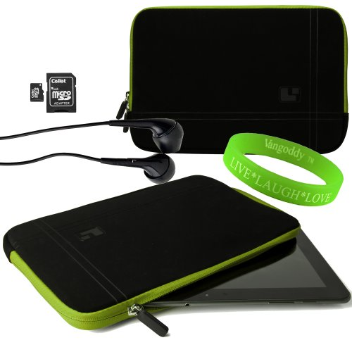 Sumaclife Presents This Tablet Device Case Onyx With Toxic Green Trim Neoprene Bubble Padded Zippered Sleeve For Netbook Navigator Nav9 Tablet Devices + Black Netbook Navigator Nav9 Compatible Ear Buds + 16Gb Micro Sd Card And Adaptor + Vangoddy Live+Laug