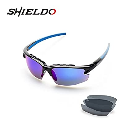 Sport Sunglasses, Shieldo Polarized Sunglasses Cycling Running Grilamid TR90 Frame Sports Sunglasses for Men & Women with Interchangeable Iridium Lenses for Baseball Golf Surf [Lifetime Warranty]
