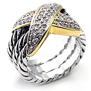 Two Tone Designer Inspired Pave CZ Ring