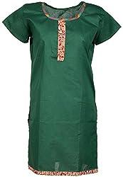 Anshul Textile Women's Cotton Regular Fit Kurta (Green)