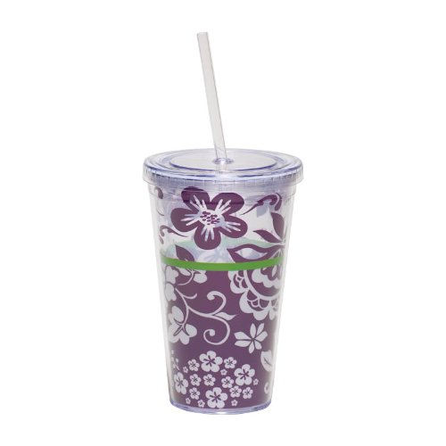 Cypress Home 17-Ounce Insulated Cup With Lid And Straw, Botanical Silhouettes front-90407