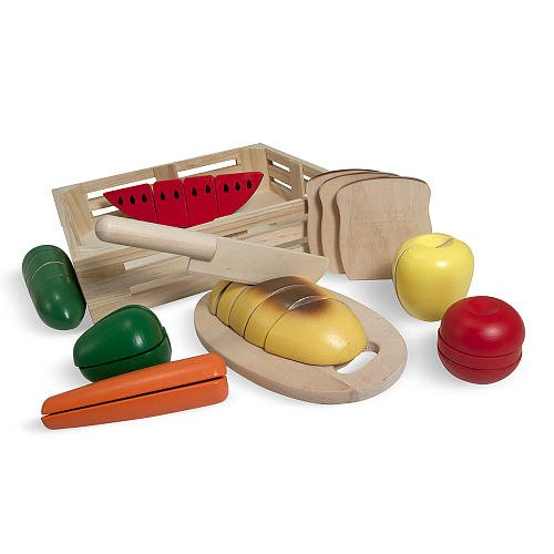 Melissa And Doug Cutting Food Set In A Wooden Storage Box front-655211