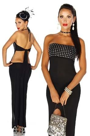 Silamoda - Femme - Robe longue cocktail avec brillants - Unique - Noir