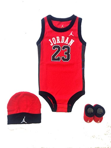 Jordan Baby Clothes 3 Piece Basketball Red Jersey Set (0-6 Months)
