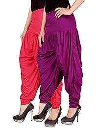 Navyataa Women's Lycra Dhoti Pants For Women Patiyala Dhoti Lycra Salwar Free Size (Pack Of 2) Pink & Purple