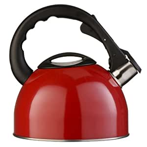 Premier Housewares Whistling Kettle, 2.5 Litre, Red