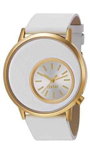 Esprit  Copa Gold - Reloj de cuarzo para mujer, con correa de cuero, color blanco