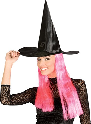 Rubies Halloween Adult Witch Black Hat w/ Pink Attached Hair