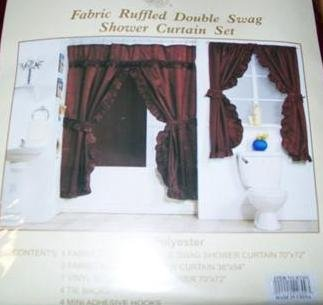 Burgundy Double Swag Fabric Shower Curtain Set With Matching Window Curtain Ruffled Shower