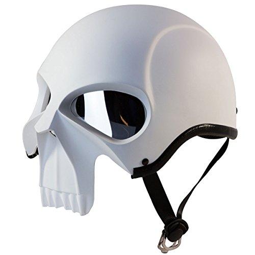 3D Skull Skeleton Matte White Half Motorcycle Cruiser Chopper Biker Shorty He... (Mask Chopper Motorcycle compare prices)