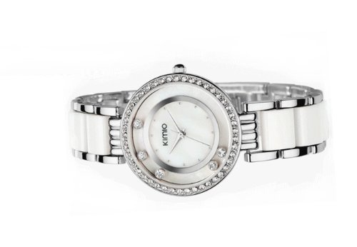 Ufingo-Korean Fashion Ladies/Women/Girls Rhinestone Crystal Stylish Wrist Watch-Silvery White