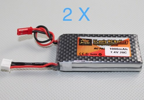 US Ship 7.4v 2S 1000mAH 20C Lipo Battery W/ JST Male Connector Installed