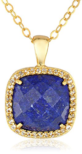 Cushion Cut Lapis Lazuli and White Topaz Pendant on Gold Plated Sterling Silver Chain Necklace, 18