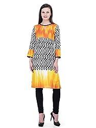 FAIRENO Designer Long Kurti in White & Yellow